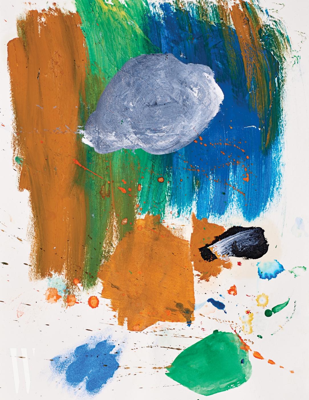 추상적인 형태와 붓 터치가 놀라우리 만큼 감성적인 그림은 타블로 강혜정의 딸 이하루(8세) 양의 작품.