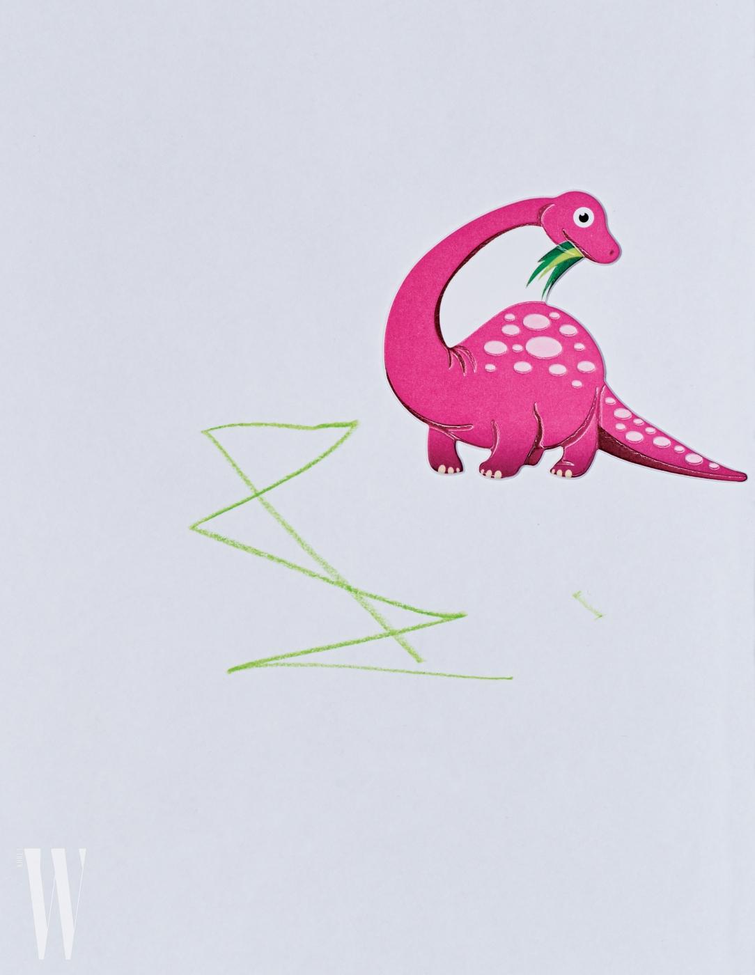 김나영의 아들 최신우(2세) 군이 그린 그림. 엄마가 붙여준 핑크색 공룡 스티커와 어우러지는 추상적인 선을 그려 넣었다.