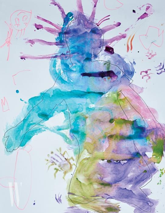개그맨 이휘재와 플로리스트 문정원의 아들 이서언(5세) 군의 상상력이 넘치는 그림. 물감의 번짐 효과를 이용해 상상 속의 괴물을 만들었다.
