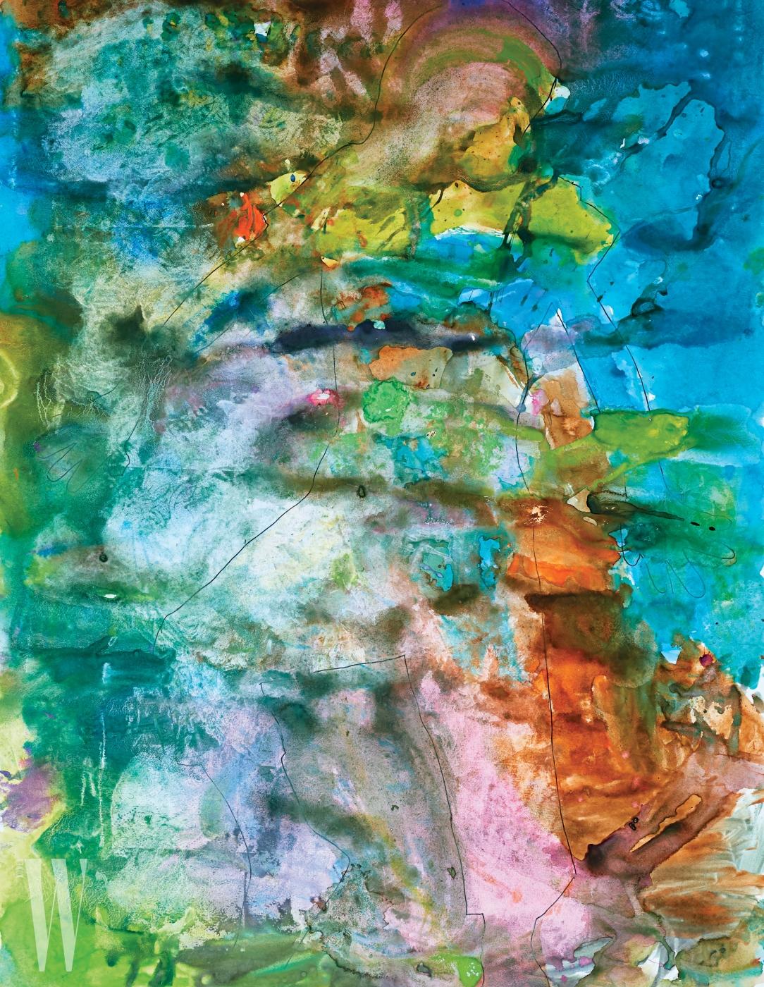 개그맨 이휘재와 플로리스트 문정원의 아들 이서준(5세) 군의 그림. 서준이의 그림 속 색에서 영감 받아 화보의 의상을 선택했다.