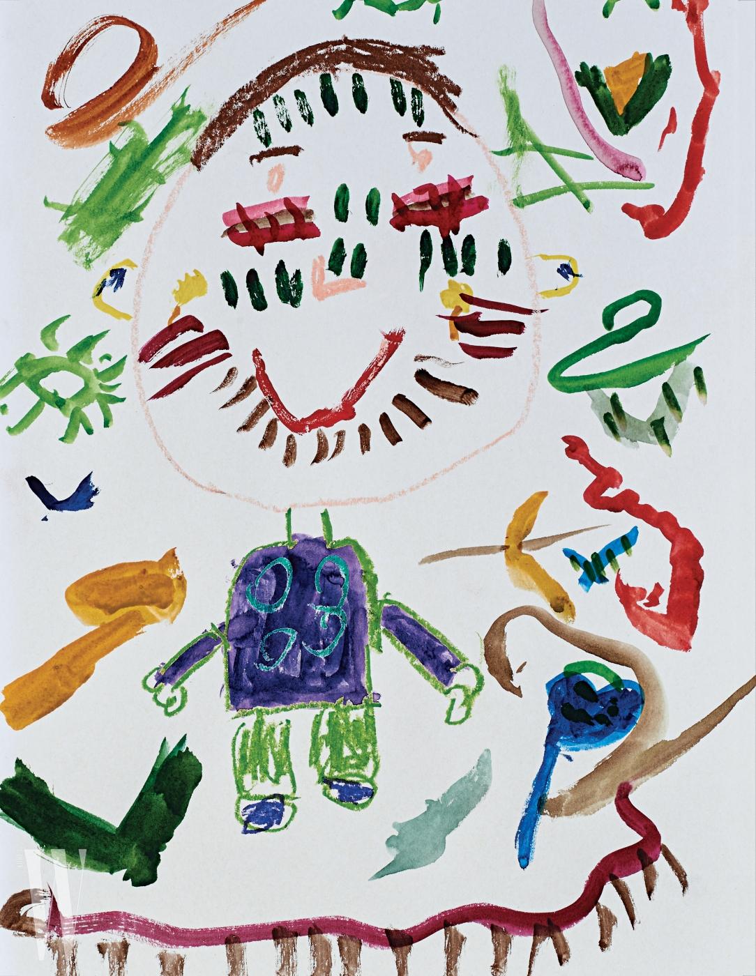 배우 이범수와 이윤진의 아들 이다을(4세) 군이 그린 그림. 그림 속 알록달록한 색깔과 도화지를 가득 채운 추상적인 도형에서 연관성을 찾아 화보 속 스카프를 선택했다.