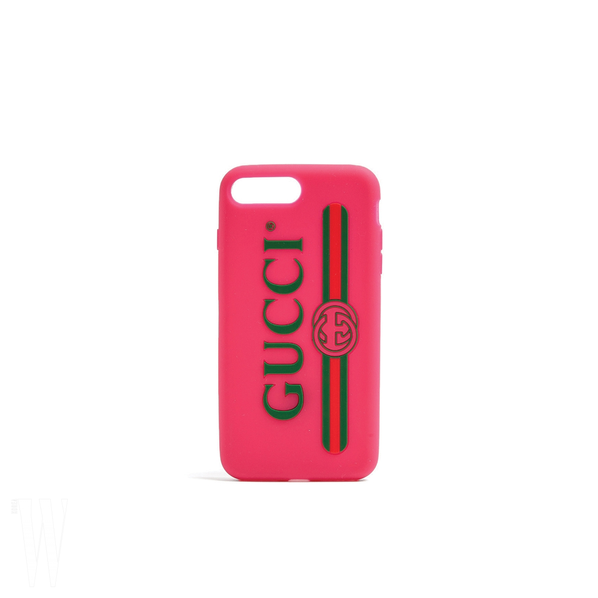 GUCCI 로고 장식 핸드폰 케이스는 구찌 제품. 28만원.