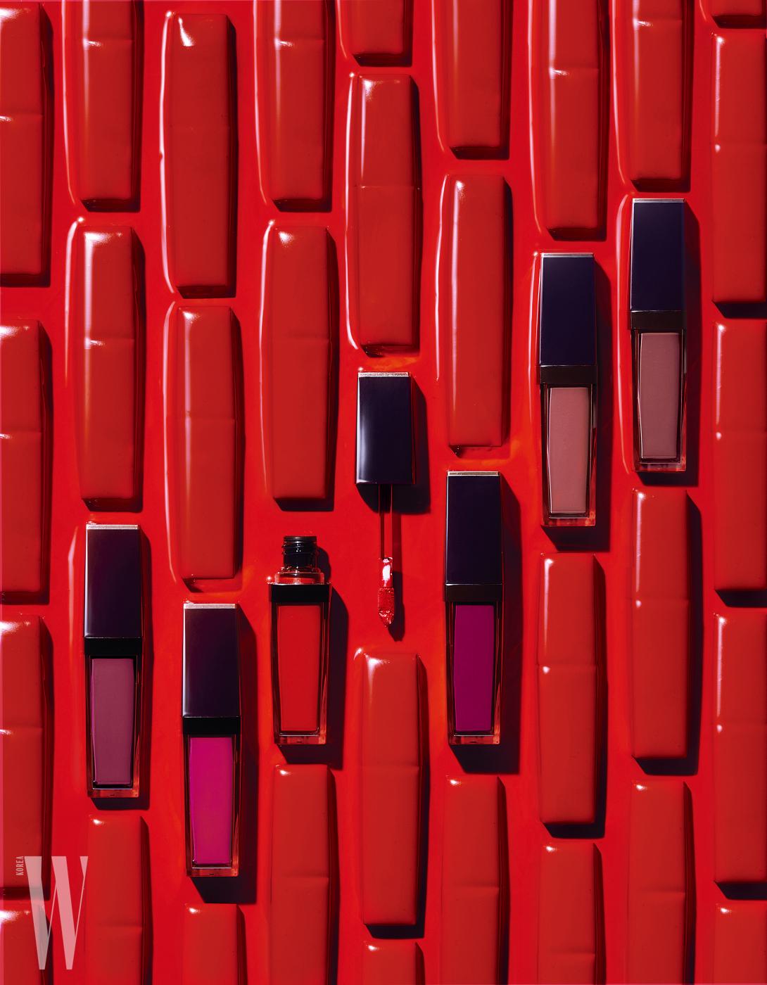 왼쪽부터 | 퓨어 컬러 엔비 페이트-온 리퀴드 립 컬러 (#407, #402, #303, #404, #200, #103)