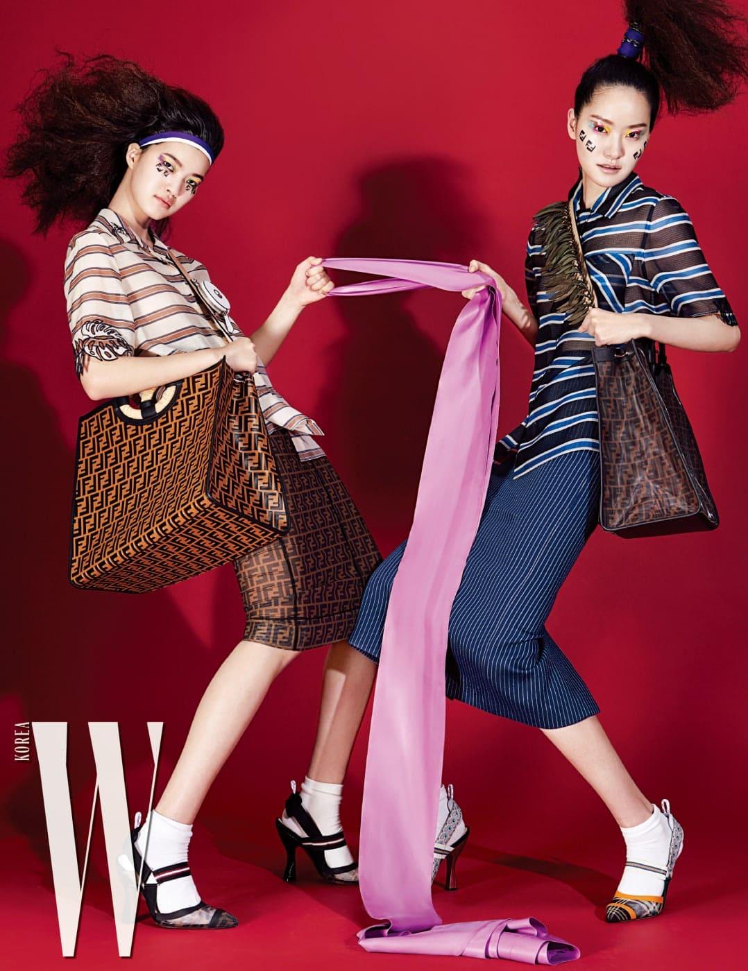 ㅣ서유진이 입은 줄무늬 장식 시스루 셔츠와 FF 로고 장식 시스루 스커트, 스포티한 특징을 차용한 슈즈, FF 로고 장식의 커다란 '런어웨이' 가방, 작은 지갑이 달린 멀티 백 스트랩, 퐁리가 착용한 파란색 줄무늬 셔츠, 줄무늬 패턴 미디스커트, 오렌지색 포인트 슈즈, 안이 비치는 FF 로고 '런어웨이' 가방과 프린지 장식 스트랩은 모두 Fendi 제품.