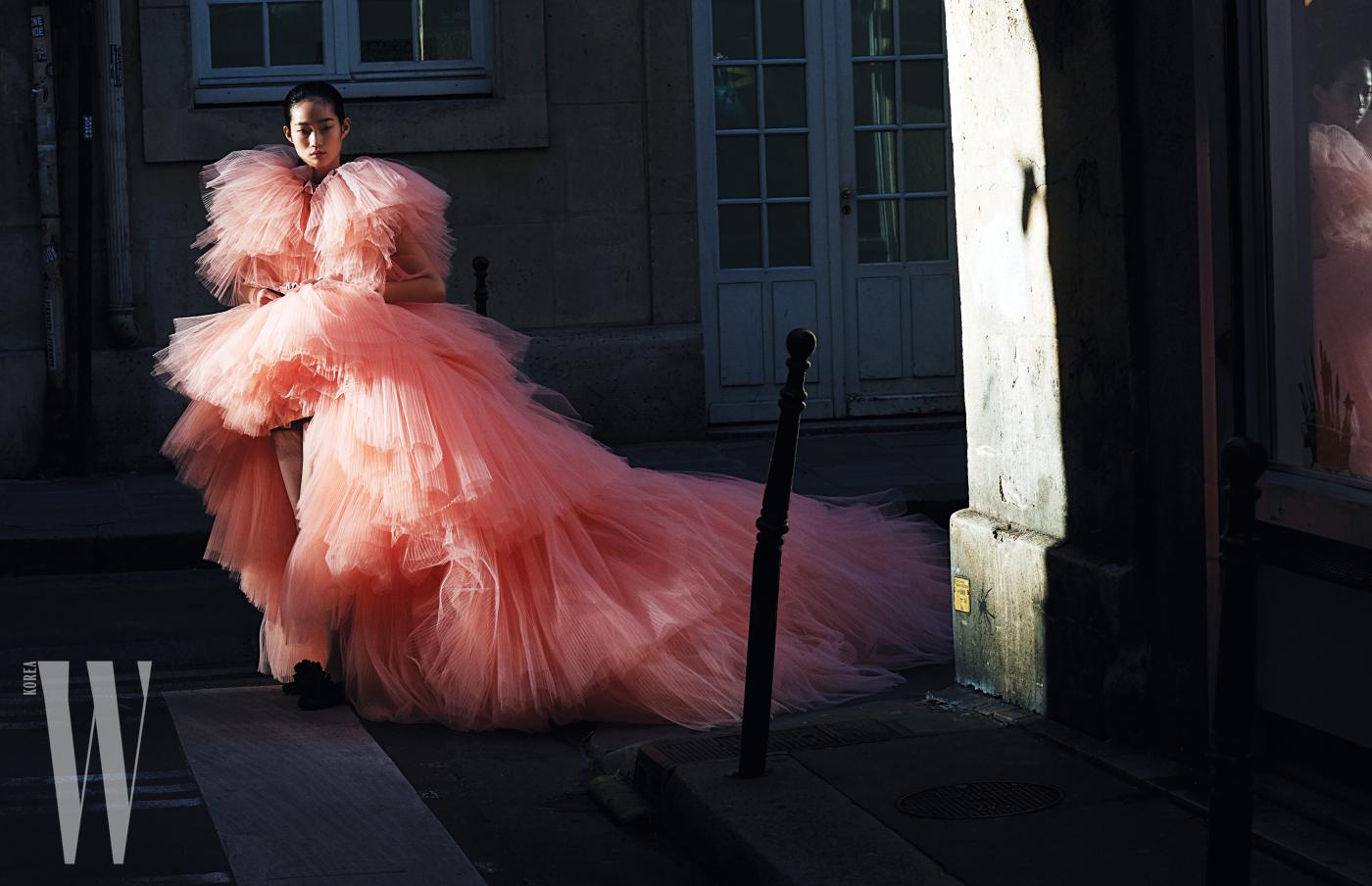 풍성한 샤가 겹겹이 층을 이룬 핑크색 드레스, 폼폼 장식 플랫 슈즈는 Giambattista Valli 제품.