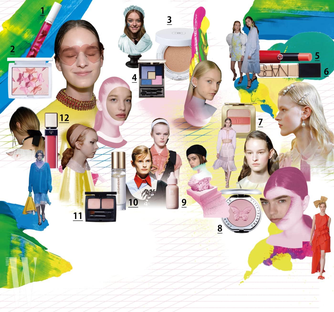 1. Lancome 로즈 젤리 틴트 3.6g, 3만9천원. 2. Dior 디올스노우 블러쉬 앤 블룸(002호) 14g, 7만2천원. 3. Chanel 르 블랑 오일-인-크림 컴팩트 파운데이션 SPF50+/ PA++ 10g, 8만2천원. 4. Yves Saint Laurent 2018 스프링 꾸뛰르 팔레트 콜렉터 5g, 8만5천원. 5. Giorgio Armani 엑스터시 샤인 3g, 4만4천원. 6. Nars 네츄럴 래디언트 롱웨어 파운데이션 30ml, 1만원. 7. Tom Ford Beauty 쏠레이 컨투어링 컴팩트(누드 글로우) 20g, 12만7천원. 8. Chantecaille 치크 섀이드 필란트로피 컬렉션(블리스) 2.5g,5만8천원. 9. Peripera 잉크 뽀얀 스킨 틴트(4호) 30ml, 1만원. 10. Yves Saint Laurent 뚜쉬 에끌라 블러 프라이머 30ml, 6만9천원. 11. Hera 섀도 듀오 새틴(16호) 3.3g, 3만5천원. 12. Cle de Peau Beaute 래디언트 립글로스(7호) 8ml, 4만5천원대.