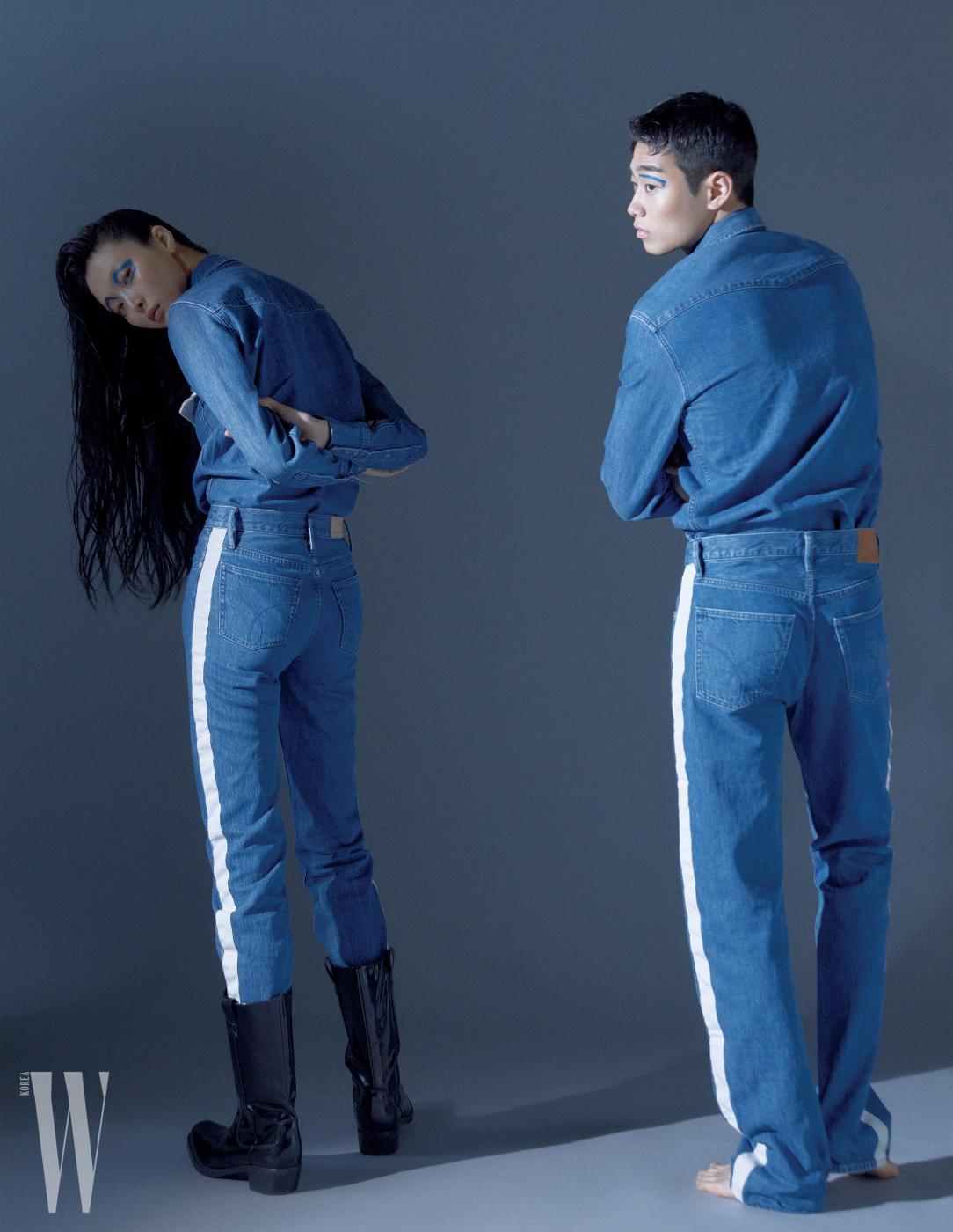 김성희가 입은 데님 셔츠, 팬츠, 부츠, 임지섭이 입은 데님 셔츠, 팬츠는 모두 Clavin Klein Jeans 제품.