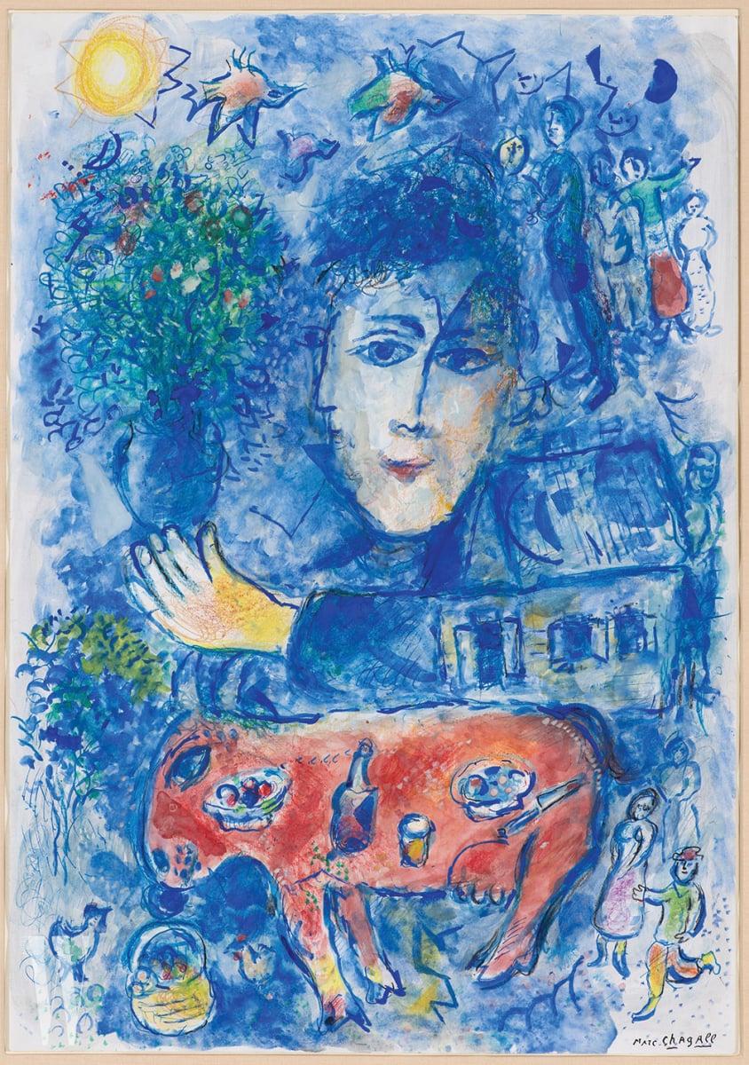 '두 개의 파란 옆모습 이중 초상과 빨간 당나귀'