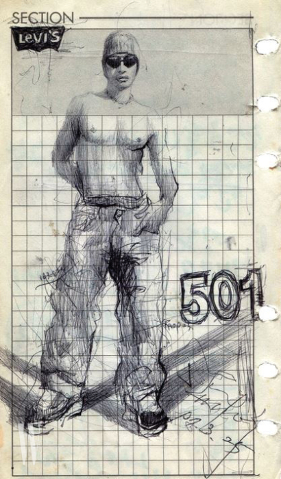 나얼이 그린 리바이스 데님 스케치.