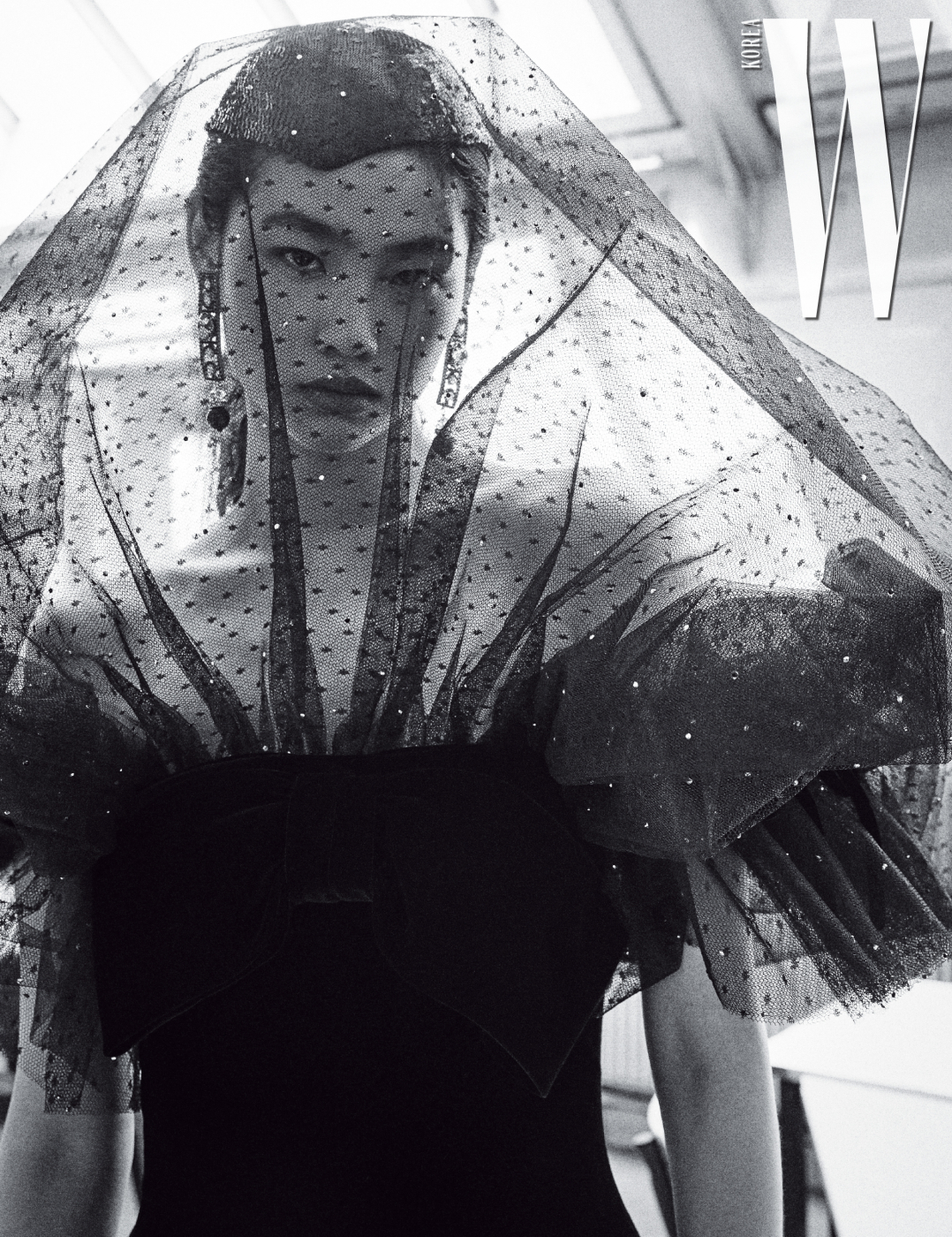 풍성한 베일 실루엣을 극대화한 벨벳 드레스, 모자, 귀고리는 모두Armani Prive 제품.