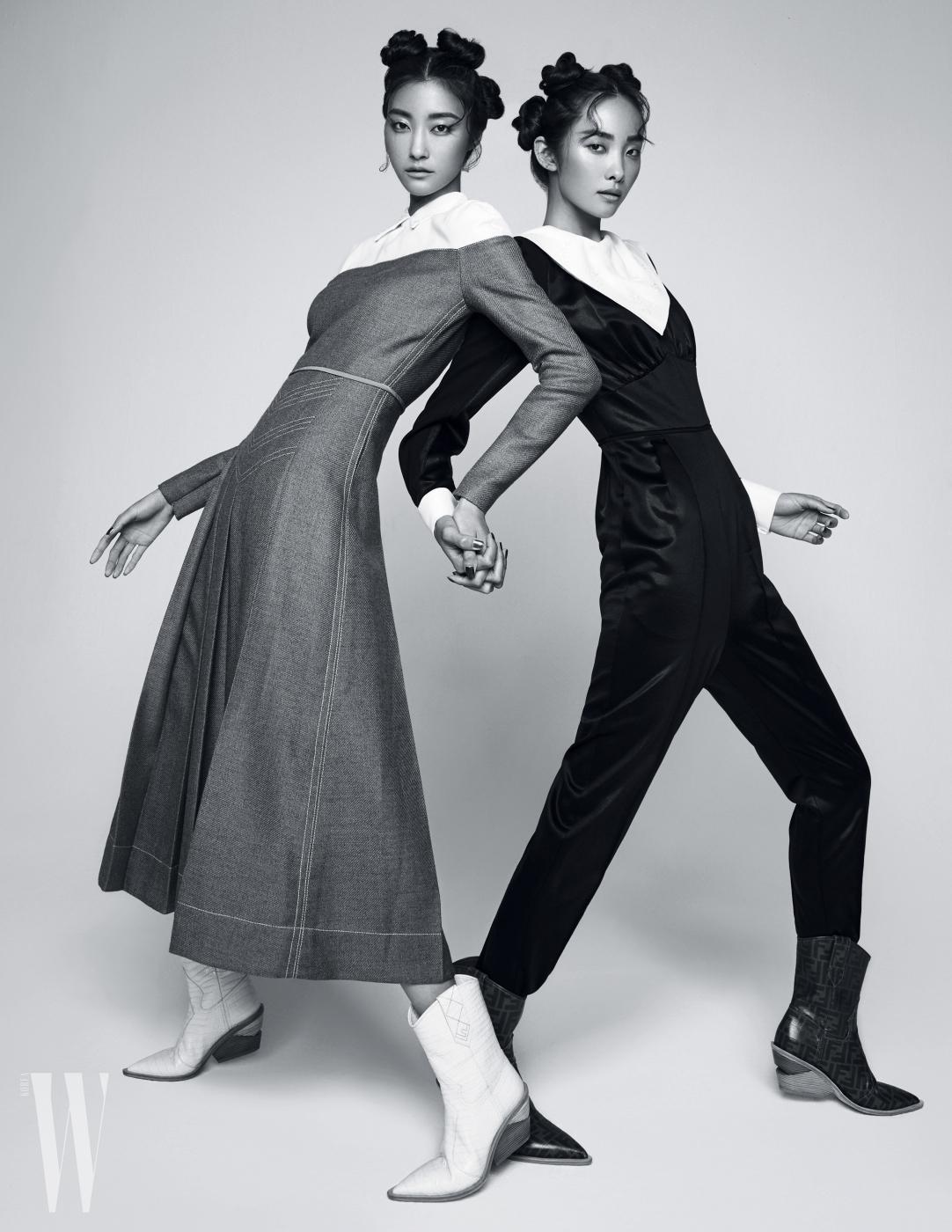 왼쪽 | 우아한 실루엣과 정제된 테일러링이 돋보이는 투톤 드레스와 웨스턴 부츠는 Fendi 제품. 오른쪽 | 새틴 점프수트와 웨스턴 부츠는 Fendi 제품.