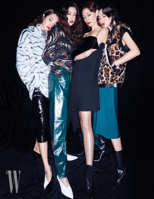왼쪽부터 | 와일드한 애니멀 프린트의 스웨터와 가죽 스커트, 펌프스는 모두 Givenchy 제품. 실크 톱과 가죽 팬츠, 펌프스는 모두 Givenchy 제품. 보 장식의 미니드레스와 부츠는 Givenchy 제품.  퍼와 가죽 장식 베스트, 실크 스커트와 부츠는 모두 Givenchy 제품.