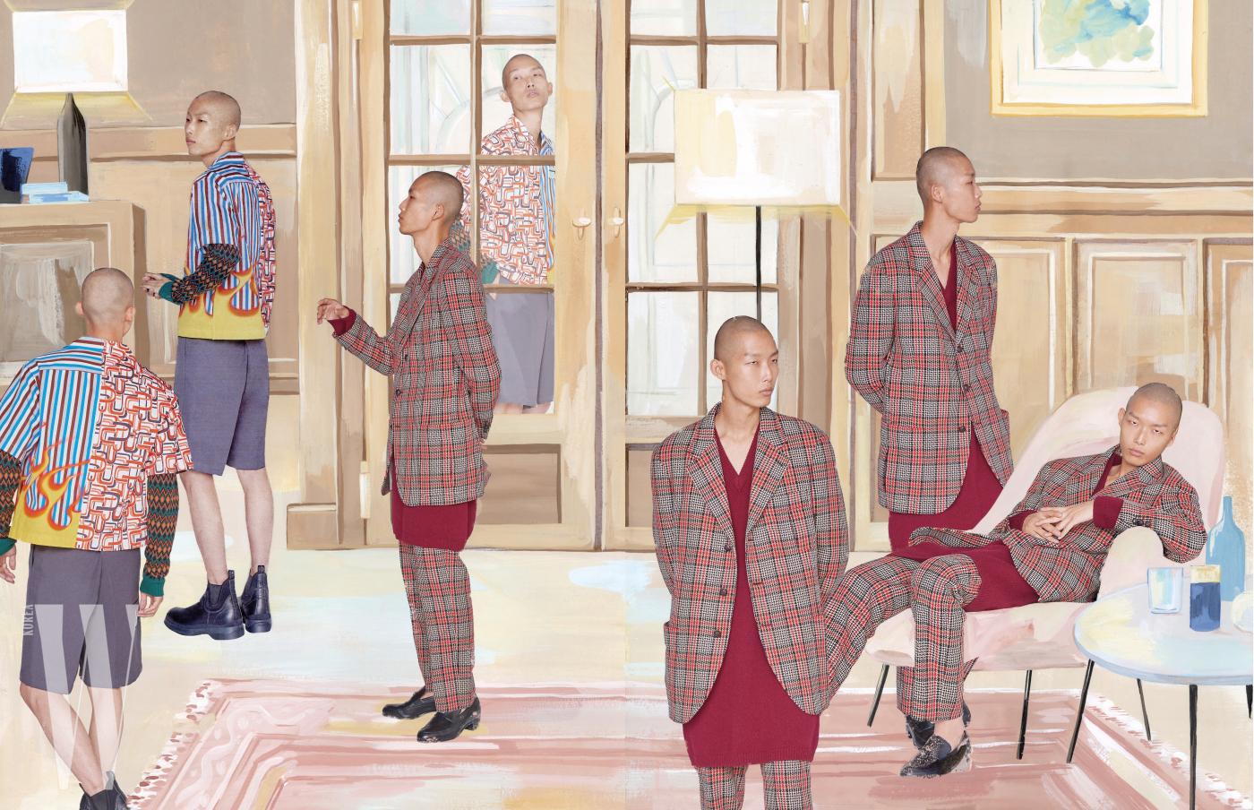 클래식한 체크 패턴의 스리버튼 재킷과 크롭트 팬츠, 여유로운 실루엣의 롱 니트 톱, 검정 로퍼는 모두 Gucci 제품. 재미있는 패턴의 반소매 셔츠와 안에 입은 아가일 체크 패턴 니트 톱, 회색 쇼츠와 앵클부츠는 모두 Prada 제품.