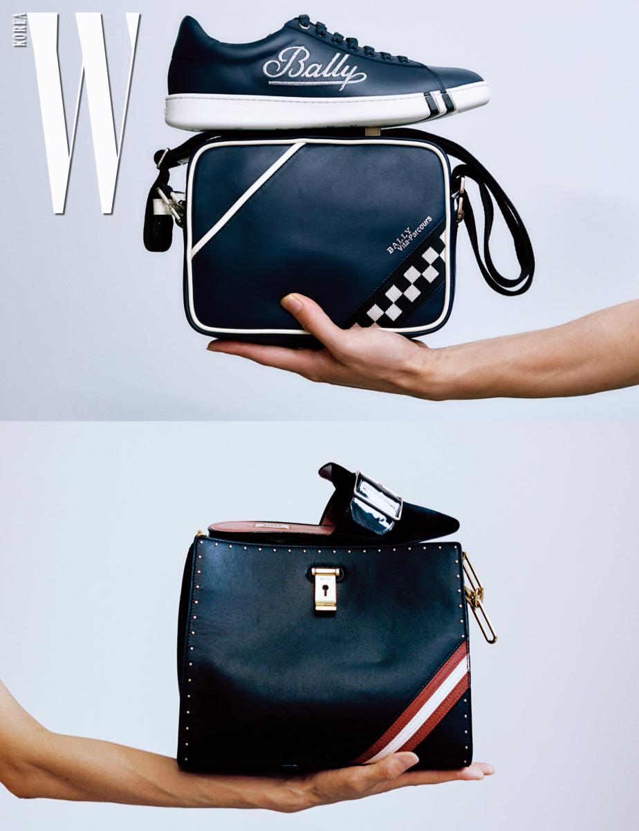 로고가 돋보이는 '윈스턴' 스니커즈와 큐브 무늬가 담긴 '실라스' 백은 Bally 제품. 클래식한 줄무늬와 금속 장식이 세련된 '리즈' 백과 커다란 버클 장식 '하멜린' 플랫 슈즈는 Bally 제품.