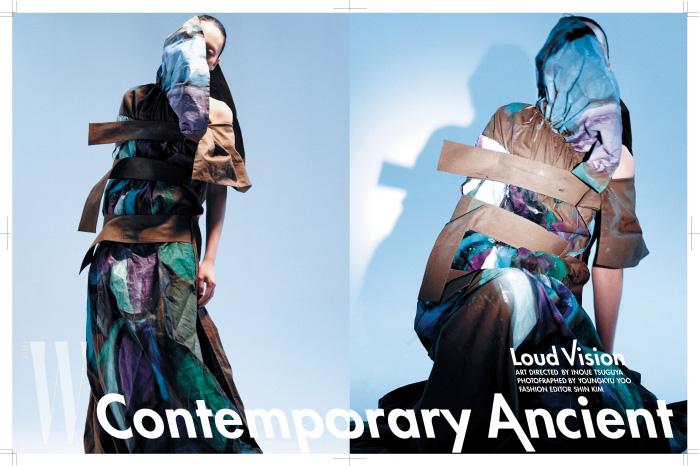 아티스틱한 페인트 프린트를 담은 밀리터리 캔버스 드레스는 Yohji Yamamoto 제품.
