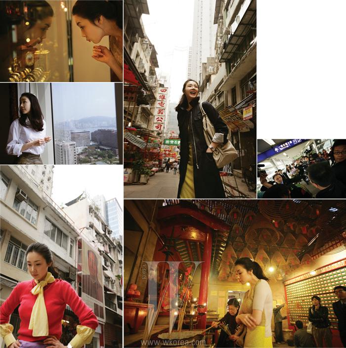 (왼쪽에서 부터 시계방향으로) 공항에 마련된 리무진이 출발할 때까지 결코 포기하지 않는 홍콩의 파파라치 군단. 오래된 시계가 진열된 쇼윈도를 얼니아이처럼 바라보는 최지우. 그녀가 묵은 페니슐라 호텔 스위트 룸에서는 홍콩 시내가 한눈에 들어온다. 마오쩌둥 포스터가 걸린 캣 스트리트 앞을 지나는 최지우. 인파라고 해도 모자라지 않을 파파라치군단. 만모 사원에 한가득 꽃혀 있는 향을 바라보며 생각에 잠긴 최지우. 아침 비행기로 도착하여 피곤한 일정이었음에도 언제나 이렇게 해사한 웃음만 보여주었다. 특유의 냄새가 코를 찌르는 재래시장에서도 싫은 내색 한 번 없던 친절한 지우 씨.