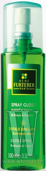 RENE FURTERER 글로스 스프레이. 비타민B5가 모발 손상을 방지하고 광택을 부여하는 매니큐어 효과를 낸다. 스프레이 타입의 에센스. 100ml, 4만8천원.