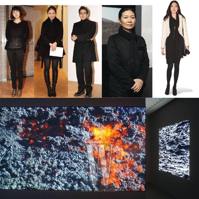 왼쪽부터|방소연, 채문선, 김태형, 작가 김수자, 김현정, 전시된 영상물.
