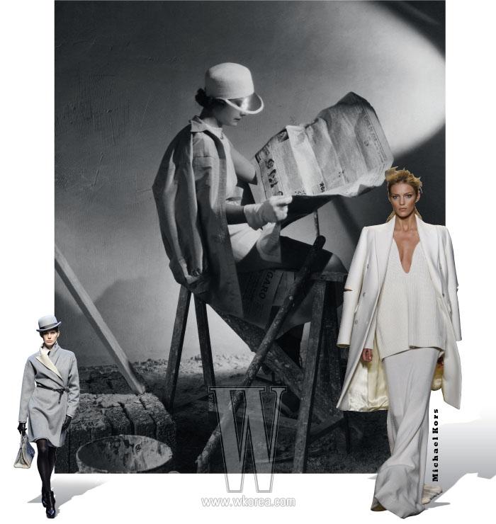 맨 위 사진   1935년 디자이너 스키아파렐리는 거친 노동자들이 입는 남성용 셔츠에서 연유한 재킷과 드레스를 매치하는 신공을 선보였다. 아래 사진   에르메스의 2010 F/W 컬렉션 의상. 넉넉한 코트를 두루마기처럼 입고 얇은 벨트로 허리를 강조했다.