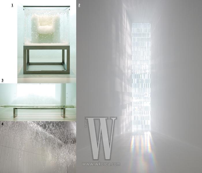 1. Venus - Natural Crystal Chair : 의자의 기본 골격에 미네랄 용액과 섬유조직이 반응을 일으켜 만들어지는 크리스털 작품. 2. Rainbow hurch : 485개의 크리스털 프리즘으로 무지개 빛을 발사한다. 3. Water Block : 비가 내리는 장면을 형상화한 옵티컬 글라스 벤치. 4. 일본 긴자의 스와로브스키 매장 리뉴얼을 위한 설치 작업.