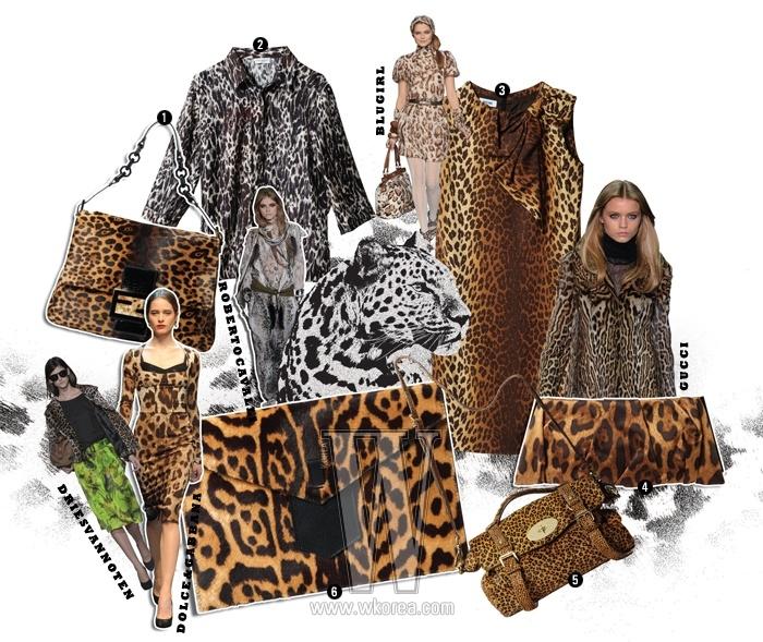 1. 초콜릿 빛의 레오퍼드 무늬 실크 블라우스는 드리스 반 노튼 제품. 79만원. 2. 목선의 리본 장식이 귀여운시스 드레스는 모스키노 제품. 1백만원대. 3. 심플한 디자인의 레오퍼드 무늬클러치는 1백38만원. 4. 레오퍼드 버전의 알렉사 백은멀버리 제품. 2백만원대. 5. 매니시한 디자인이 매력적인클러치는 이브생로랑. 가격 미정. 6. 넉넉한 사이즈의 레오퍼드 맘마바게트는 펜디 제품. 2백96만8천원