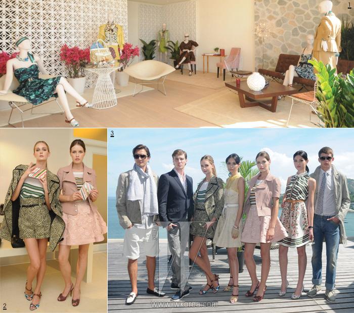 1 따스하고 사랑스러운, 봄내음 나는 루이비통의 크루즈 콜렉션 2 상큼한 미노디에르 클러치를 들고 있는 모델들 3 캐주얼하면서도 클래식한 남성복과 사랑스러운 롤리타 룩의 여성복을 선보였다.