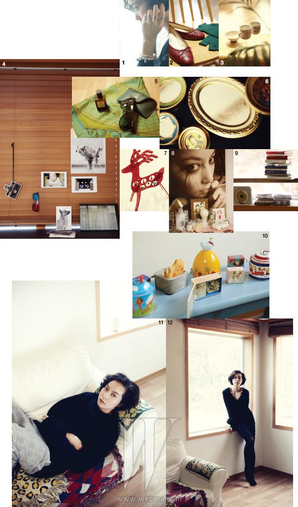 1. 최근 자주 하는 팔찌와 H.R.의 가는 반지 그리고 이들을 더욱 근사하게 만들어주는 이유의 영어이름 'Rizy' 문신. 2. 샤넬의 빨간 플랫슈즈와 녹색 장갑. 3. 일본에서 구입한 이유가 가장 아끼는 그릇들. 4. 거실 창문 블라인드에 붙인 사진과 소품들. 5. 그녀가 좋아하는 에르메스 스카프, 루엘라 바틀리 선글라스, 키엘의 오리지널 마스크. 6. 피렌체에서 구입한 아름다운 소품들. 7. 2001 아웃렛에서 구입한 예쁜 크리스마스 장식. 8. 침실의 근사한 사진과 아기자기한 소품들. 9. CD 플레이어와 그녀가 좋아하는 소설들, 해변의 카프카, 프랑스적인 삶 등이 놓여 있다. 10. 그녀가 모으고 있는 아기자기한 오르골들. 11. 와이드 팬츠와 스웨터를 입어도 근사한 이유가 히피적인 느낌이 나는 소파에서 포즈를 취했다. 12. 블랙미니 드레스 하나로도 예쁜 그녀.