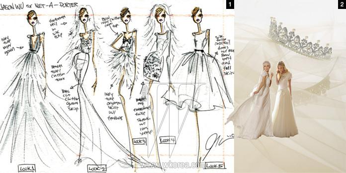 1. 올 1월, 제이슨 우가 Net-a-porter.com과 함께 캡슐 컬렉션으로 선보일 웨딩드레스 컬렉션의 스케치 컷.2. 알베르타 페레티가 발표한 웨딩 컬렉션 '포에버' 라인의 드레스들. 베일과 진주 장식 티아라는 모두 웨딩 트리 제품.