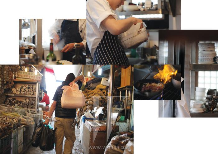 매일 아침 시장에 나가 주방장이 직접 장을 보는 것으로 식당 차우기의 하루는 시작된다. 한옥을 손본 이 아담한 장소에 '레스토랑'이나 '셰프'라는 단어는 조금 어색하다. 좁은 주방에서 직원들이 어깨를 부딪치며 음식을 만들면 그 소리와 냄새가 실내에 가득 차고, 작은 테이블에 마주 앉은 사람들은 젓가락으로 요리를 맛본다. 참 작은 공간이다. 그래서 맛있는 음식이 사람을 행복하게 한다는 아주 소박한 진리, 그 밖의 허세스런 꾸밈은 여기 들어올 틈이 없다.