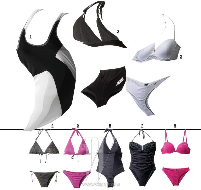 1 과감한 패턴이 시선을 끄는 수영복은 보테가 베네타 제품. 가격 미정. 2 극적인 커팅이 인상적인 비키니는 제인송 제품. 가격 미정. 3 깔끔한 흰색 비키니는 에스까다 제품. 40만원대. 4 카무플라주 패턴에 비즈 장식을 더한 비키니는 에르마노 설비노 제품. 58만원. 5 광택이 돋보이는 비키니는 캘빈 클라인 제품. 19만8천원. 6 하이 웨이스트 형태의 홀터넥 수영복은 엠포리오 아르마니 언더웨어 제품. 19만7천원. 7 풍성한 주름 장식으로 볼륨감을 살린 원피스 수영복은 캘빈 클라인 제품. 15만8천원. 8 선명한 색감의 비키니는 엠포리오 아르마니 언더웨어 제품. 17만9천원.