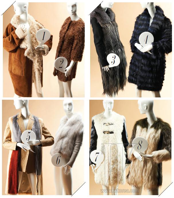 1. 양털이 장식된 넉넉한 실루엣의 무톤 코트는 펜디 제품. 가격 미정. 2. 7부 소매의 갈색 양털 코트는 스테파넬 제품. 1백78만원. 3. 밍크, 염소, 여우털이 다채롭게 믹스된 퍼 코트는 구찌 제품. 가격 미정. 4. 염색한 여우털과 레오퍼드 패턴의 안감이 돋보이는 리버서블 퍼 코트는 DS퍼 제품. 2백만원대. 5. 컬러 블록이 눈길을 끄는 밍크 베스트를 더한 양가죽 재킷은 셀린 제품. 가격 미정. 6. 풍성한 퍼 칼라의 무톤 재킷은 프라다 제품. 4백85만원. 7. 매끈한 가죽 소매와 곱슬거리는 양털의 조화가 돋보이는 코트는 모그 제품. 1백98만원. 8. 라쿤과 여우털이 믹스된 투 톤의 퍼 코트는 타임 제품. 4백50만원.