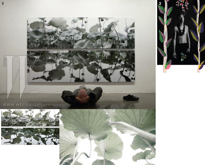 1. 김용호의 전을 누워서 감상하는 모습. 그것도 마치 하나의 작품같다. 2.신예 작가 김하영과의 협업으로 탄생한 루이스 박의 사진.