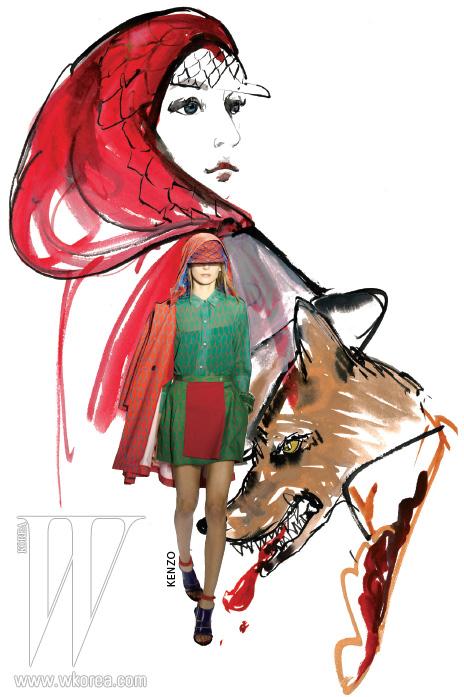 움베르토 레온과 캐롤 림의 첫 번째 겐조 컬렉션에서 오프닝을 장식한 피시넷 프린트의 빨간 후드 코트. 21세기 식 빨간 모자 소녀 룩으로 부르기에 손색이 없다.