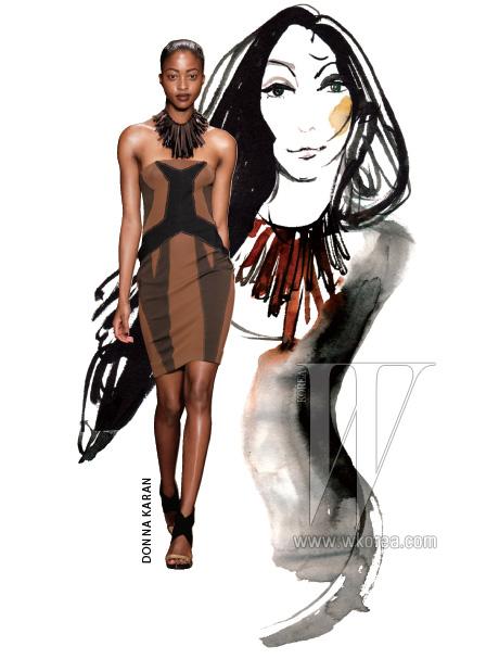 지역색이 뚜렷하게 드러나는 모던 에스닉 룩을 선보인 이번 시즌 도나 카란 컬렉션은 포카혼타스에게 바치는 일종의 오마주.