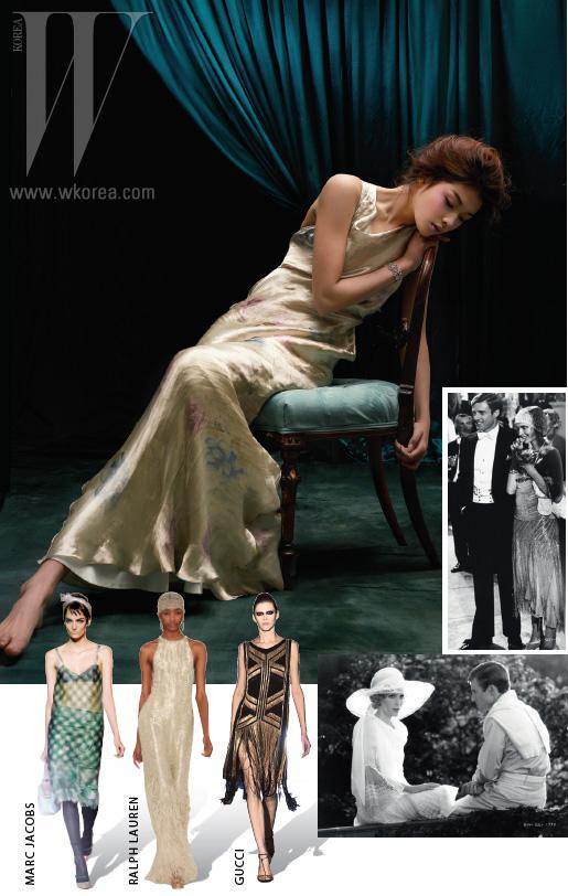 (왼쪽 부터) 섬세한 새틴 소재 롱 드레스는 랄프 로렌, 카멜리아 모티프의 다이아몬드 장식 커프는 샤넬 파인 주얼리 제품. 1920년대 룩을 서정적으로 보여주는 영화  속의 미아 패로와 로버트 레드퍼드.