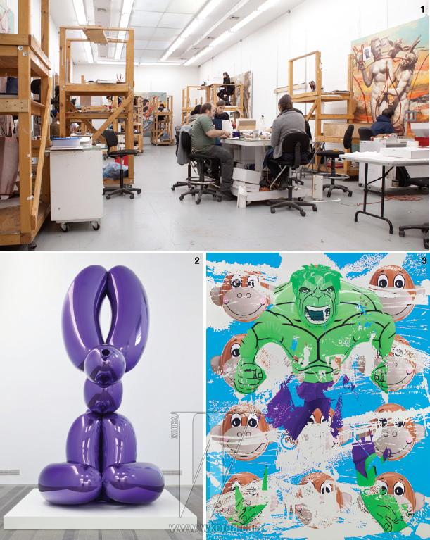 1. 제프 쿤스의 스튜디오에는 숙련된 스태프들이 일한다. 그들 각자 다양한 아트 작업을 하는 개별 아티스트들이지만, 쿤스의 스튜디오에서만은 철저하게 그의 비전을 구현하는 시스템의 일부다. 2. Balloon Rabbit (Violet), 2005-2010 3. 조각을 만들기 전 단계인 프로토타입 앞에서 포즈를 취한 제프 쿤스. 100 여명 이상이 일하는 넓은 스튜디오는 곳곳에서 채색을 하거나 조각의 형태를 만들고 디테일을 다듬는 작업 중이었다. 이 모든 과정을 통제한다는 제프 쿤스는 스스로 스튜디오 안을 누비면서 원하는 장소를 찾고, 포즈를 취하며 인터뷰 촬영마저 자신의 통제 아래 두었다.