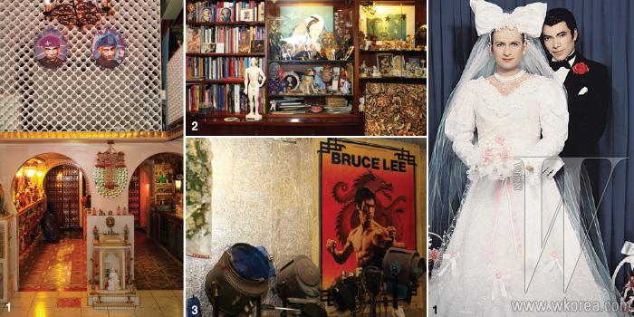 1, 2, 3. 알록달록하고 화려한 컬러의 소품으로 가득한 피에르와 질의 공간. 마치 인도 영화의 세트장이나 유쾌하게 꾸며진 사원 같은 이곳에서 두 사람은 작업과 생활을 함께 하고 있다. 4. 피에르 앤 질이 한국 문화에서 영감을 받은 작업이라고 밝힌 작품. Les Mariés, 1992 Models: Pierre et Gilles Unique hand-painted photograph Framed by the artists 73.3 X 54.5cm ©Pierre et Gilles. Courtesy Galerie Jérôme de Noirmont