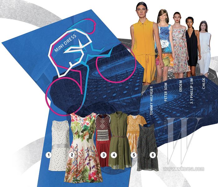 1. 걸리시한 무드의 잔잔한 꽃무늬 미니 드레스는 바네사 브루노. 12만9천원. 2. 화사한 플라워 프린트의 모래시계 실루엣 미니 드레스는 자라. 12만9천원. 3. 에스닉한 비즈 디테일의 미니 드레스는 보테가 베네타. 8백만원대. 4. 베이식한 디자인의 카키색 주름 장식셔츠 드레스는 빈폴 레이디스. 39만5천원. 5. 크로셰 장식을 더한 하이웨이스트 미니 드레스는 모스키노 칩 & 시크. 92만원. 6. 살랑이는 시폰 소재의 빈티지풍 미니 드레스는 데스켄스 띠어리. 69만8천원.
