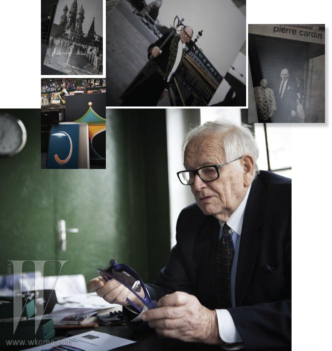 파리에 위치한 피에르 가르뎅의 오피스 안에는 그의 호기심을 드러내는 흥미로운 자료들이 즐비했다. 벽에는 자신이 등장한 옛 잡지들이 나란히 줄지어 있고, 책상 옆에는 피에르 가르뎅의 독특한 스타일이 풍기는 메탈 소재의 미니어처 조각들이 자리를 차지했다. 한편 현대 패션의 진화를 엿볼 수 있는 그의 오래된 사진첩 속에서 피에르 가르뎅은 단지 흘러버린 과거가 아닌, 오늘과 내일을 이야기했다.