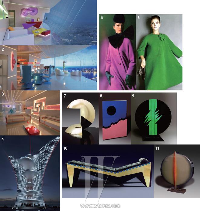 1,2,3,4 2015년에 베니스에 완공될 팔레 드 뤼미에르의 청사진. 마치 하나의 아티스틱한 조각품을 보는 듯구조적인 디자인의 건물 외관과 피에르 가르뎅의 이색적인 가구들로 채워진 내부 인테리어가 눈길을 끈다.5,6 드라마틱한 보 장식의 극적인 표현, 테일러링이 돋보이는 우아한 실루엣, 그리고 톡톡 튀는 색감 등1960년대 초반 피에르 가르뎅의 시그너처 스타일을 보여주는 코트들.7,8,9,10,11피에르 가르뎅의 패션을 닮은 가구들.창조적인 형태와 화려한 색감이 현대적인 예술 작품을 보는 듯하다.