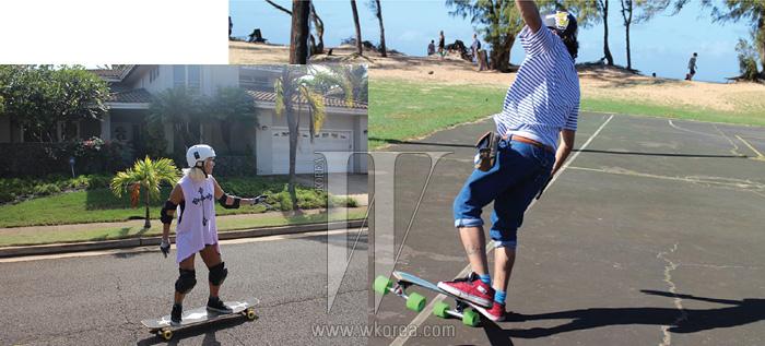 """""""보드를 즐기는 우리커플은 스케이트보드를직접 하와이까지 가져갔죠.그런데 신난 마음에장비도 착용하지않은 채 보드를 타던요니는 꽈당, 결국 영광의상처를 얻고 말았죠.하와이 사람들은그걸 'Proud of it'이라고하더군요."""""""
