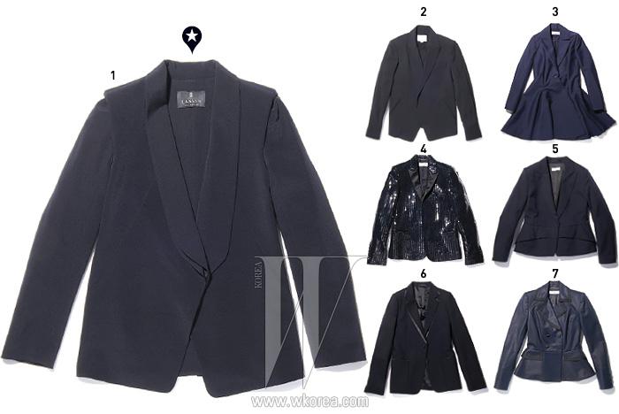 1 베스트와 재킷이 조합된 독특한 디자임에도 불구하고 1등을 차지한테일러드 재킷은 랑방 컬렉션 제품. 1백15만원. 2 미니멀한 디자인의 검정 재킷은 알렉산더 왕 제품. 93만원. 3 1950년대 바 재킷을 변형한 플리츠 원피스 재킷은 디올 제품. 가격 미정. 4 스팽글이 촘촘히 박힌 테일러드 재킷은 생로랑 파리 제품. 가격 미정. 5 페플럼으로 건축적인 느낌을 가미한 재킷은 드리스반 노튼 제품. 1백57만원. 6 새틴으로 디테일을 강조한 오버사이즈 재킷은 메종 마틴 마르지엘라 제품. 3백37만원. 7 은은한 광택이 감도는 더블 버튼 재킷은 프라발 구릉 by 10 꼬르소 꼬모 제품.