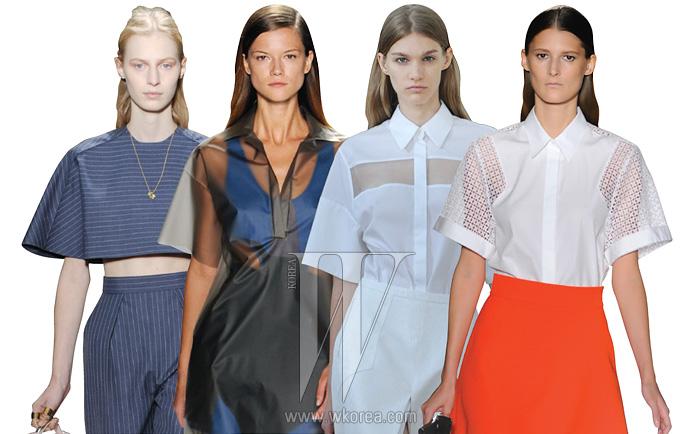 왼쪽부터 | 박시한 크롭트 톱에 티셔츠형 소매를 매치한 발렌시아가,시스루 소재의 티셔츠 소매 톱을 선보인 라코스테, 짧고 박시한 소매의 셔츠를 선보인 프린,소매 부분만 시스루로연출된 박시한 셔츠를선보인 빅토리아 베컴.