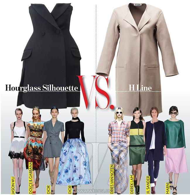 Hourglass Silhouette바 재킷을 변형한아워글라스 실루엣의미니 드레스는디올 제품.가격 미정.H Line베이식한 H라인의면 소재 봄 코트는질 샌더 제품.가격 미정.