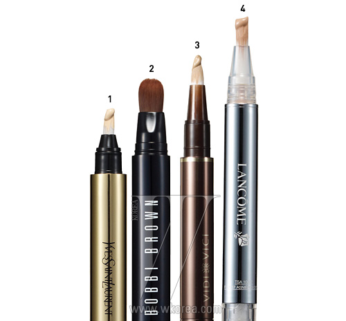 1. YVES SAINT LAURENT 뚜쉬 에끌라 베이스, 하이라이터, 컨실러를 하나에 담은 진정한 멀티 펜.주름과 잡티는 가려주고, T존과 광대뼈처럼 입체감과 볼륨을살릴 곳은 확실히 살려준다. 2.5ml, 4만5천원대.2. BOBBI BROWN 페이스 하이라이터 펜 얼굴에 자연스럽고고급스러운 광채를 주고 싶다면 파우더보다 리퀴드 타입이제격이다. 6.3ml, 4만2천원.3. VIDI VICI 링클리스 컨실러 잡티와 주름은 완벽하게감춰주면서 아주 얇게 펴 발리니 베이스 제품을대신해도 좋을 정도다. 2ml, 3만9천원.4. LANCOME 뗑 미라클 내추럴 라이트 크리에이터퍼펙팅 컨실러 펜 지성 피부라면 프라이머를 바른 뒤 이 제품을눈가와 콧등, 입술 주변에 발라 피부 톤도 정돈하고음영도 더해주자. 2.5ml, 4만원.