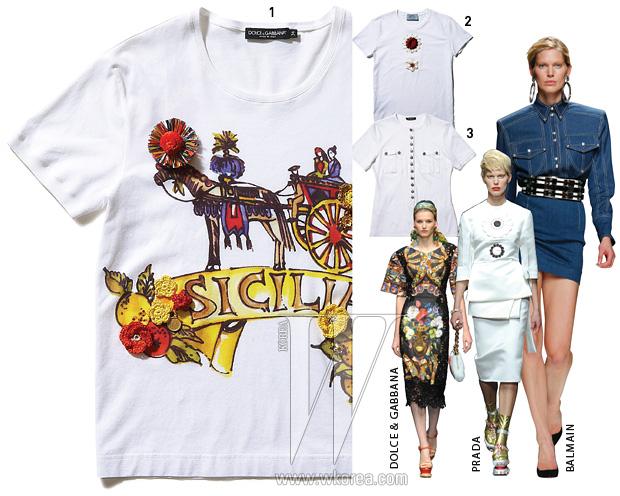 1. 입체적인 꽃 장식이 달린 티셔츠는 돌체&가바나제품. 57만원. 2. 실크 꽃 장식이 박음질 된 티셔츠는 프라다 제품. 가격 미정. 3. 은색 단추가 촘촘히달린 티셔츠는 발맹 제품. 85만원.
