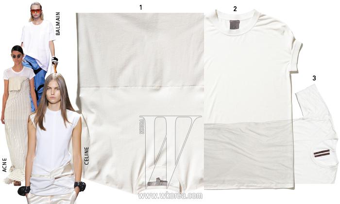 1. 가로 절개선이 특징인 티셔츠는 빅토리아 베컴 by 톰그레이하운드 제품. 29만5천원. 2. 네크라인과 팔 부분이 밴딩 처리된티셔츠는 캘빈 클라인 제품. 27만5천원. 3. 무릎까지 내려오는긴 기장이 특징인 티셔츠는 릭 오웬스 제품. 35만원.