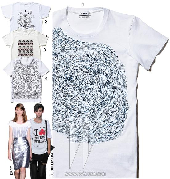 1. 지문을 연상시킨 그래픽 티셔츠는 질 샌더 제품. 38만원.2. 뮤지션 그라임즈와 협업한 그래픽 로고 티셔츠는 생로랑 제품.47만원. 3. 흑백 남자아이 사진이 프린트된 티셔츠는 Y's 제품.가격 미정. 4. 해골과 꽃 프린트 위에 정교하게 자수를 놓은 티셔츠는알렉산더 매퀸 by 마이분 제품. 99만원.