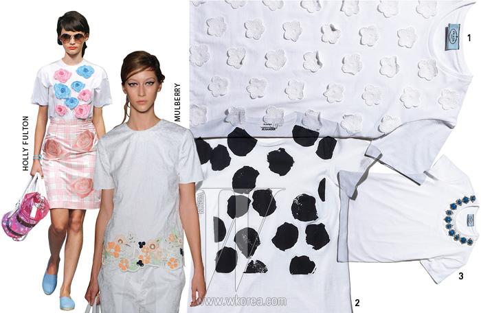 1. 레이스 꽃 장식이 부착된 티셔츠는 프라다 제품.가격 미정. 2. 꽃을 형상화한 추상적인 티셔츠는질 샌더 제품. 54만원. 3. 화려한 주얼 장식 티셔츠는프라다 제품. 가격 미정.