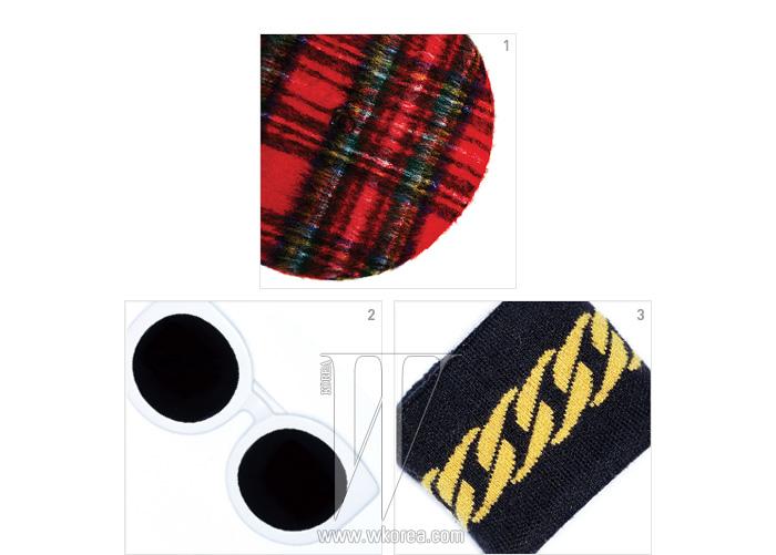 1. 클래식한 체크 프린트의 베레모,2. 흑백의 극적인 대비가 매력적인 선글라스,3. 트롱프뢰유 효과를 노린 손목 밴드는 모두 푸시버튼 제품.